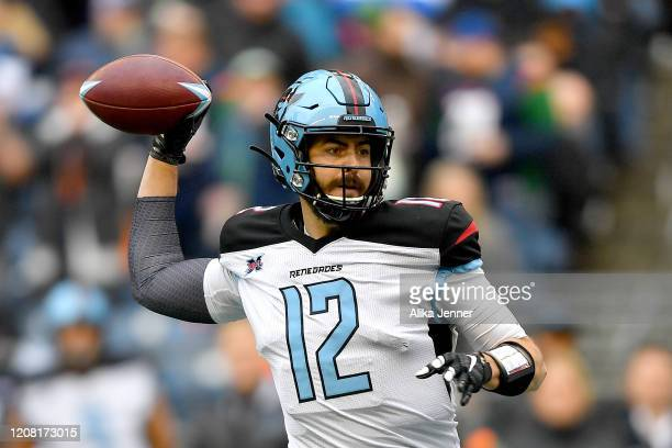 Landry Jones of the Dallas Renegades passes the ball during the second half of the game against the Seattle Dragons at CenturyLink Field on February...