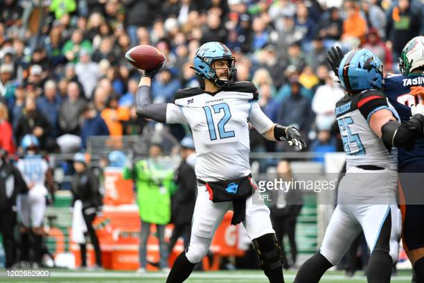 Landry Jones of the Dallas Renegades passes the ball during the XFL game against the Seattle Dragons at CenturyLink Field on February 22 2020 in...