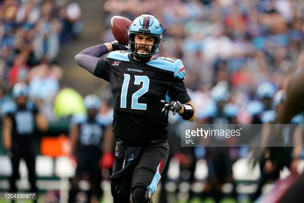 Landry Jones of the Dallas Renegades passes the ball during the XFL game against the Houston Roughnecks at Globe Life Park on March 1 2020 in...