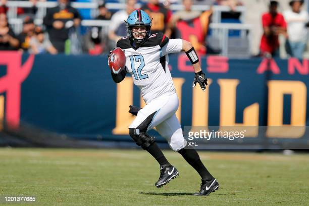 Landry Jones of the Dallas Renegades scrambles and runs for yardage during their XFL game against the LA Wildcats at Dignity Health Sports Park on...