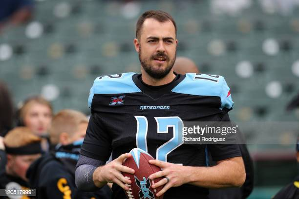 Landry Jones of the Dallas Renegades stands on the sidelines before the XFL football game against the St Louis Battlehawks on February 09 2020 in...