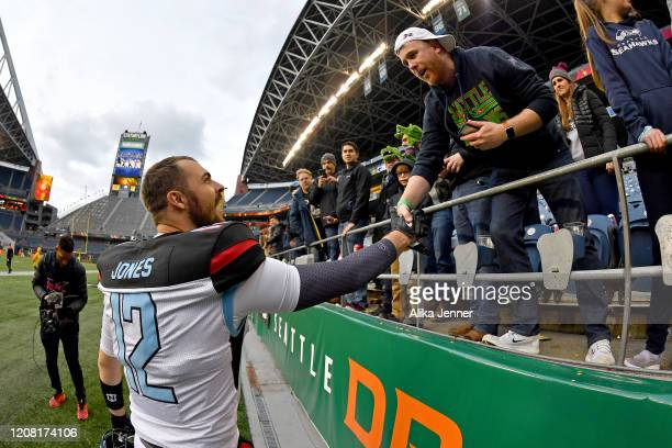 Landry Jones of the Dallas Renegades thanks the fans after the game against the Seattle Dragons at CenturyLink Field on February 22, 2020 in Seattle,...