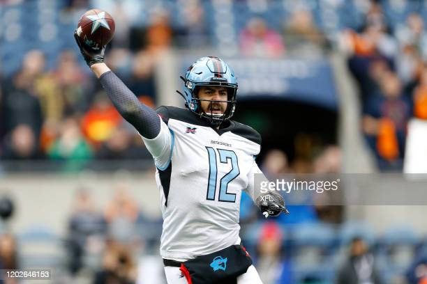 Landry Jones of the Dallas Renegades throws a pass during the XFL game against the Seattle Dragons at CenturyLink Field on February 22, 2020 in...