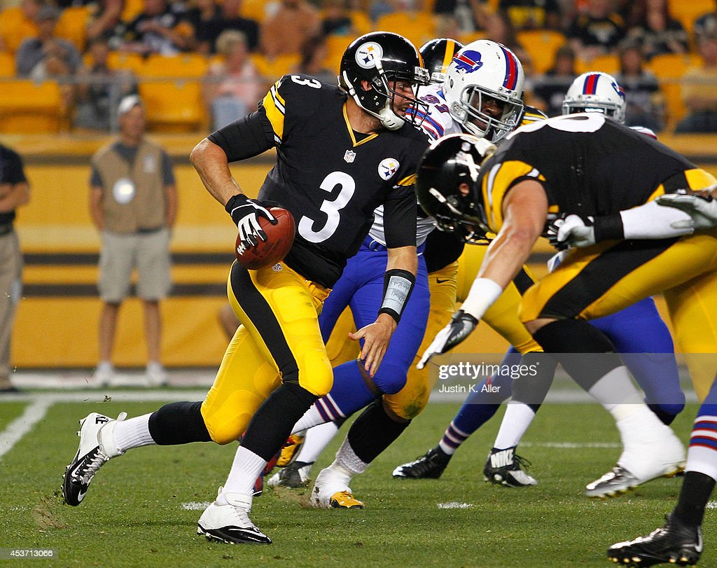 Landry Jones #3 of the Pittsburgh Steelers carries the ball during the third quarter against the Buffalo Bills at Heinz Field on August 16, 2014 in Pittsburgh, Pennsylvania.