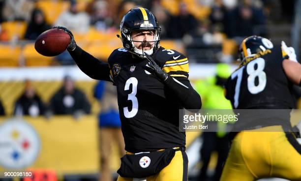 Landry Jones of the Pittsburgh Steelers drops back to pass in the first quarter during the game against the Cleveland Browns at Heinz Field on...