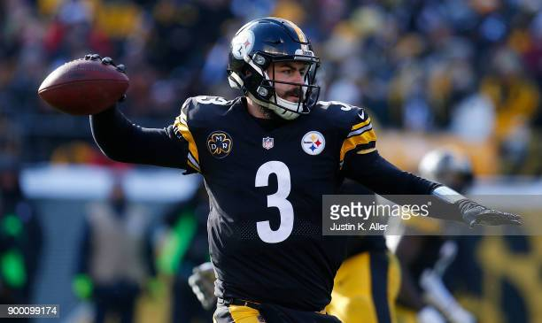 Landry Jones of the Pittsburgh Steelers drops back to pass in the second quarter during the game against the Cleveland Browns at Heinz Field on...
