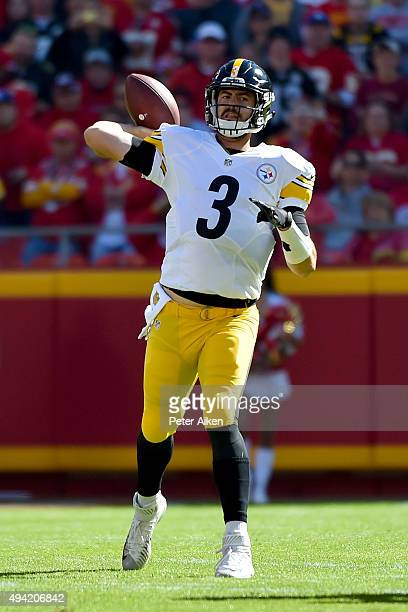 Landry Jones of the Pittsburgh Steelers throws a pass against the Kansas City Chiefs at Arrowhead Stadium during the game on October 25 2015 in...