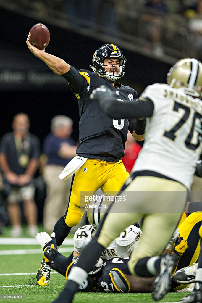 Landry Jones #3 of the Pittsburgh Steelers throws a pass under pressure during a preseason game against the New Orleans Saints at Mercedes-Benz Superdome on August 26, 2016 in New Orleans, Louisiana. The Steelers defeated the Saints 27-14.