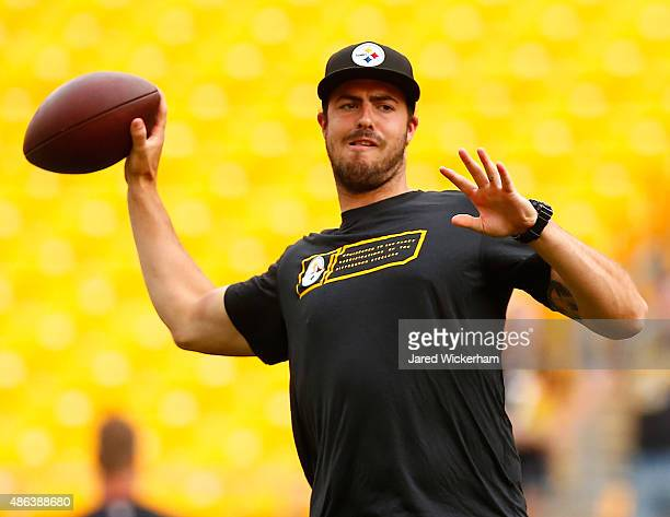 Landry Jones of the Pittsburgh Steelers warms up prior to the preseason game against the Carolina Panthers at Heinz Field on September 3 2015 in...