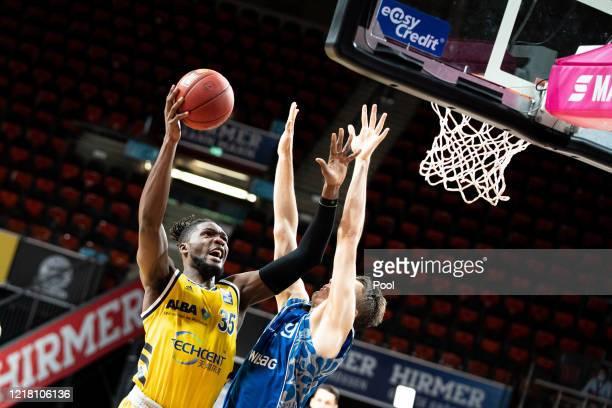 Landry Nnoko of Alba Berlin jumps for the basket during the EasyCredit Basketball Bundesliga match between Fraport Skyliners and Alba Berlin at Audi...