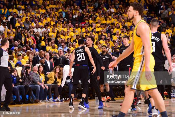 Landry Shamet and Jerome Robinson of the LA Clippers react during a game against the Golden State Warriors during Game Two of Round One of the 2019...