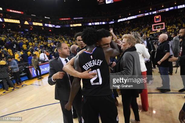 Landry Shamet and Patrick Beverley of the LA Clippers hug after a game against the Golden State Warriors during Game Two of Round One of the 2019 NBA...