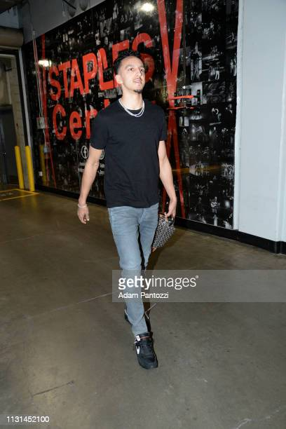 Landry Shamet of the LA Clippers arrives to the game against the Chicago Bulls on March 15 2019 at STAPLES Center in Los Angeles California NOTE TO...
