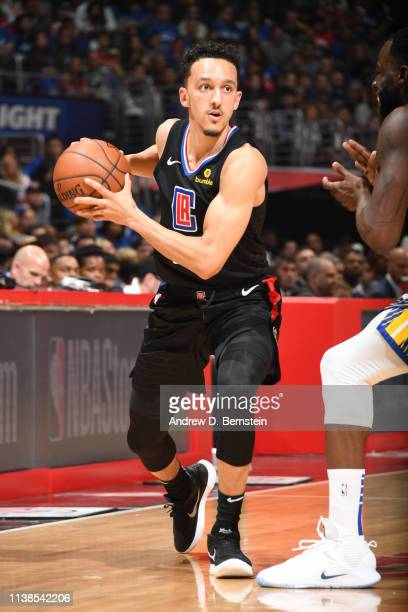 Landry Shamet of the LA Clippers handles the ball against the Golden State Warriors during Game Four of Round One of the 2019 NBA Playoffs on April...