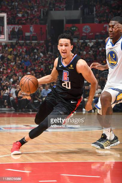 Landry Shamet of the LA Clippers handles the ball against the Golden State Warriors during Game Six of Round One of the 2019 NBA Playoffs on April 26...