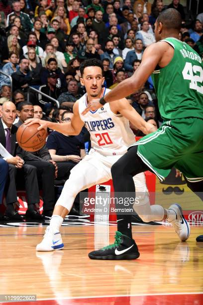 Landry Shamet of the LA Clippers handles the ball during the game against the Boston Celtics on March 11 2019 at STAPLES Center in Los Angeles...
