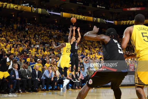 Landry Shamet of the LA Clippers makes a three-pointer late in the fourth quarter to take the lead against the Golden State Warriors during Game Two...