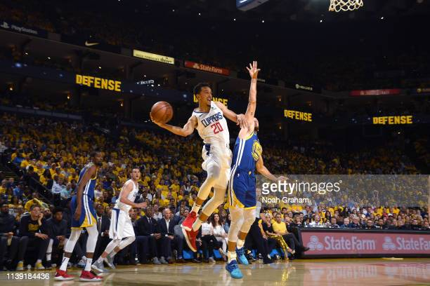 Landry Shamet of the LA Clippers passes the ball against the Golden State Warriors during Game Five of Round One of the 2019 NBA Playoffs on April 24...