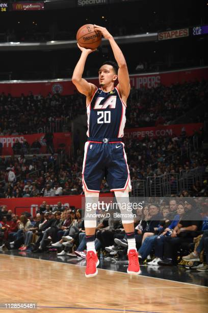 Landry Shamet of the LA Clippers shoots a threepoint basket against the New York Knicks on March 3 2019 at STAPLES Center in Los Angeles California...