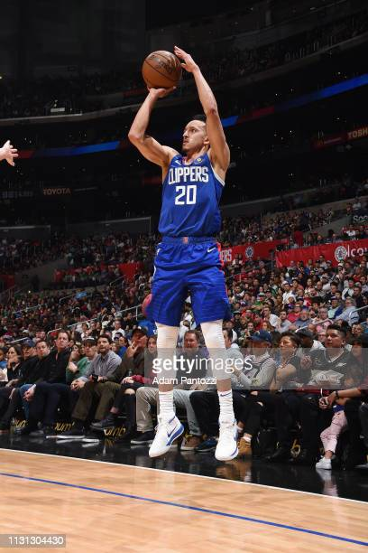Landry Shamet of the LA Clippers shoots a threepointer during the game against the Brooklyn Nets on March 17 2019 at STAPLES Center in Los Angeles...