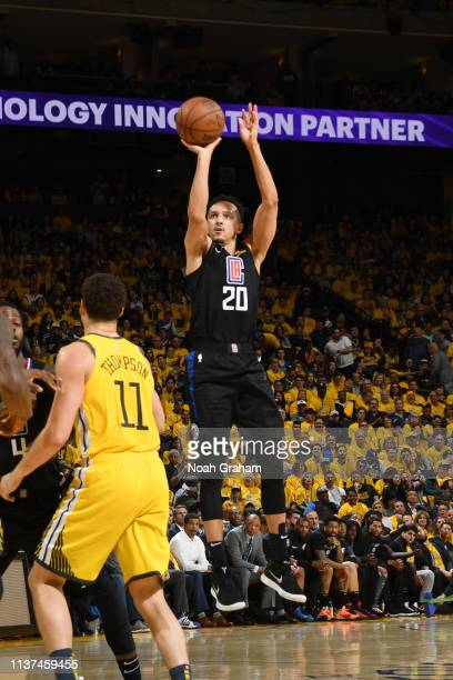 Landry Shamet of the LA Clippers shoots the ball against the Golden State Warriors during Game Two of Round One of the 2019 NBA Playoffs on April 15...
