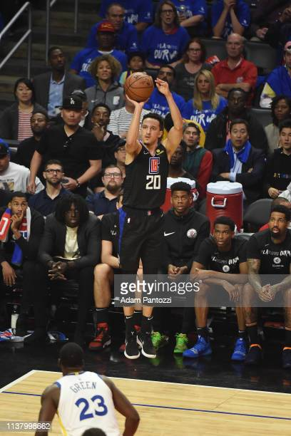Landry Shamet of the LA Clippers shoots the ball against the Golden State Warriors during Game Three of Round One of the 2019 NBA Playoffs on April...
