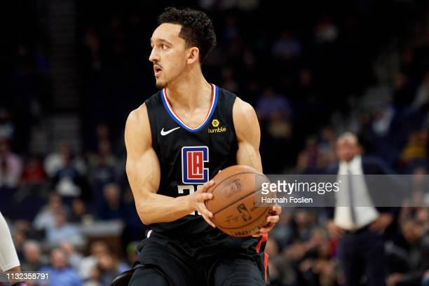 Landry Shamet of the Los Angeles Clippers has the ball against the Minnesota Timberwolves during the game on February 11 2019 at the Target Center in...