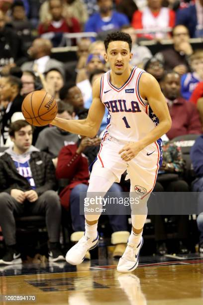 Landry Shamet of the Philadelphia 76ers dribbles the ball against the Washington Wizards in the first half at Capital One Arena on January 09 2019 in...
