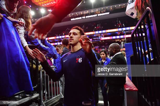 Landry Shamet of the Philadelphia 76ers exits the floor after the game against the Washington Wizards on January 8 2019 at the Wells Fargo Center in...