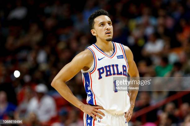 Landry Shamet of the Philadelphia 76ers looks on against the Miami Heat during the first half at American Airlines Arena on November 12 2018 in Miami...