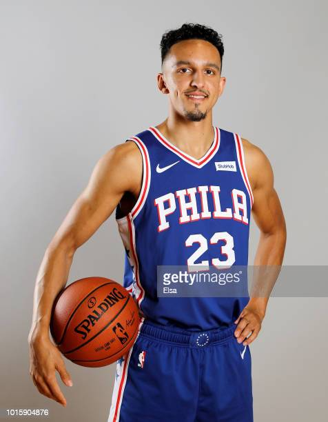 Landry Shamet of the Philadelphia 76ers poses for a portrait during the 2018 NBA Rookie Photo Shoot at MSG Training Center on August 12 2018 in...