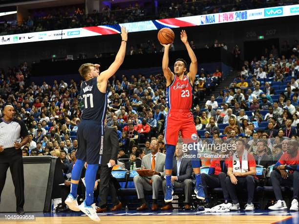 Landry Shamet of the Philadelphia 76ers shoots the ball against the Dallas Mavericks as part of the 2018 China Games on October 5 2018 at the...