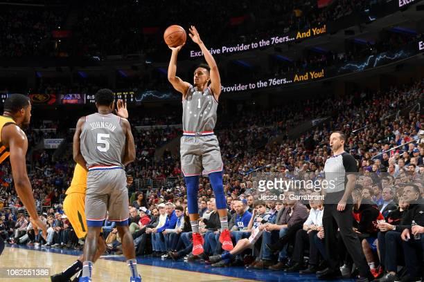 Landry Shamet of the Philadelphia 76ers shoots the ball against the Utah Jazz on November 16 2018 at Wells Fargo Center in Philadelphia Pennsylvania...