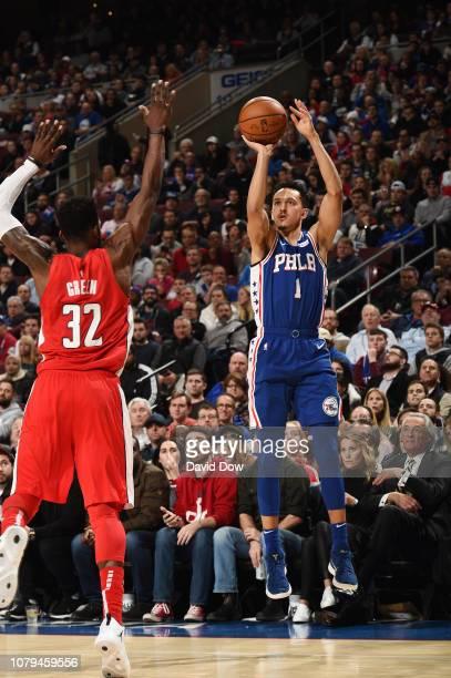 Landry Shamet of the Philadelphia 76ers shoots the ball against the Washington Wizards on January 8 2019 at the Wells Fargo Center in Philadelphia...