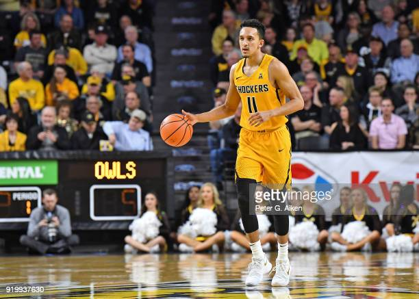 Landry Shamet of the Wichita State Shockers brings the ball up court during the first half against the Temple Owls on February 15 2018 at Charles...