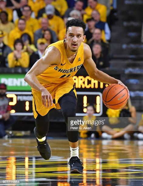 Landry Shamet of the Wichita State Shockers brings the ball up court during the first half against the Cincinnati Bearcats on March 4 2018 at Charles...