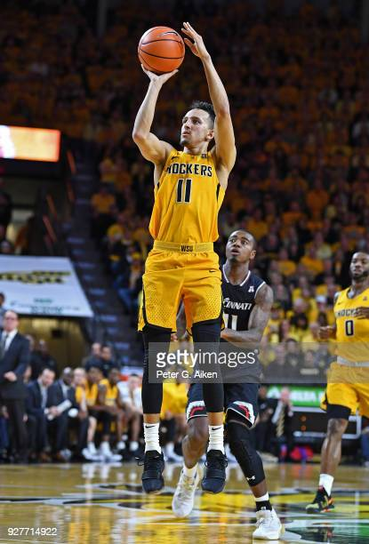 Landry Shamet of the Wichita State Shockers puts up a shot during the first half against the Cincinnati Bearcats on March 4 2018 at Charles Koch...