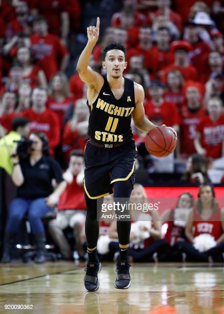 Landry Shamet of the Witchita State Shockers dribbles the ball during the 7672 win over the Cincinnati Bearcats at BBT Arena on February 18 2018 in...