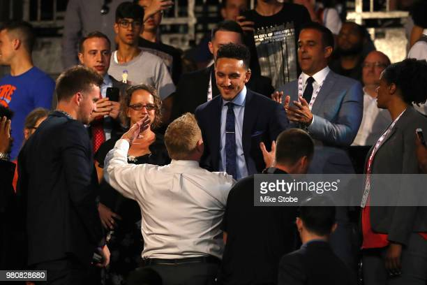 Landry Shamet reacts in the crowd after being drafted 26th overall by the Philadelphia 76ers during the 2018 NBA Draft at the Barclays Center on June...