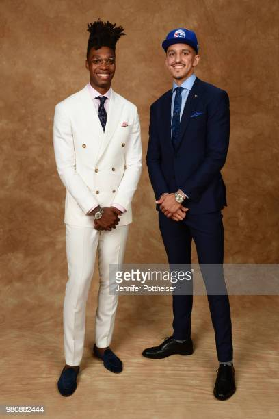 Landry Shameth and Lonnie Walker pose for a portrait after being drafted by the Philadelphia 76ers during the 2018 NBA Draft on June 21 2018 at...