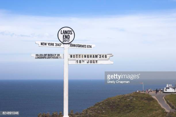 Lands End sign post, Cornwall, England