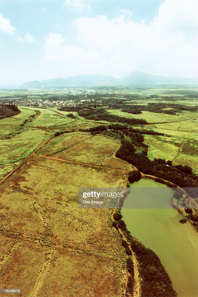 Lands, fields and tracks, Kauai, Hawaii, aerial view : Stock Photo