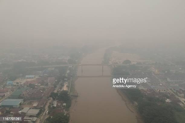 Landscape aerial photography in Pekanbaru Riau Province Indonesia is seen being shrouded in thick haze smoke on September 13 2019 According to the...