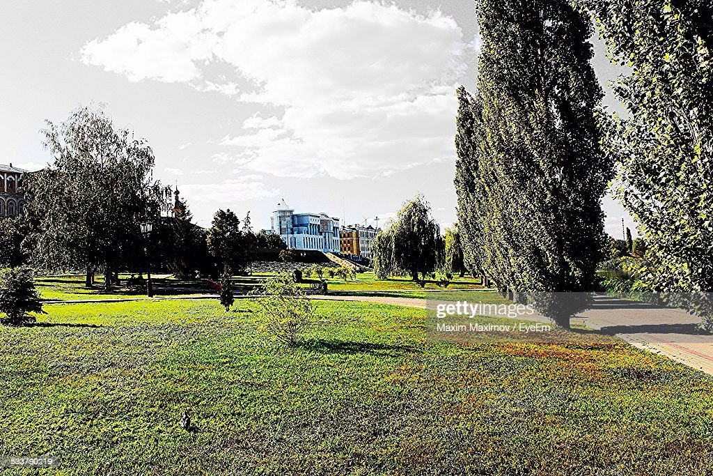 Landscape Against Cloudy Sky On Sunny Day : Foto stock