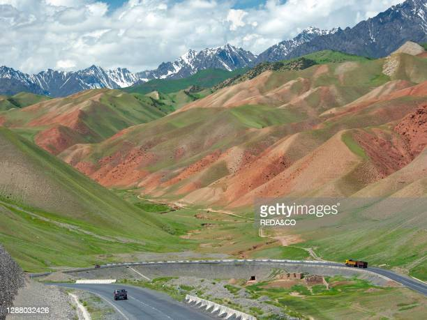 Landscape along the Pamir Highway. The mountain range Tian Shan or Heavenly Mountains. Asia. Central Asia. Kyrgyzstan.