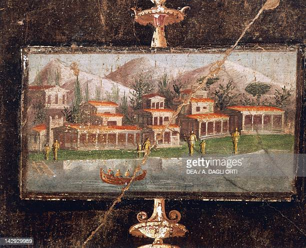 Landscape and architecture in a wall painting in the tablinum the House of Marco Lucrezio Fronto Pompeii Campania Roman Civilization 1st Century