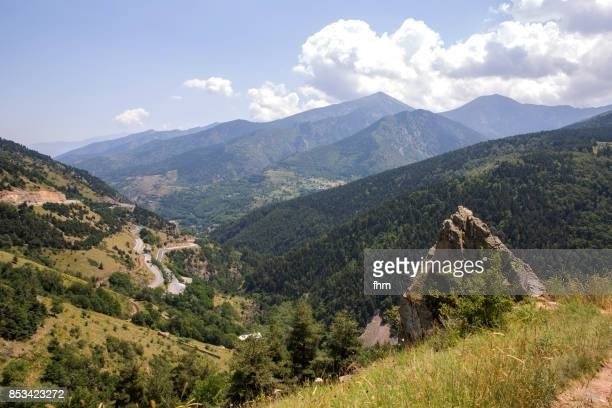 Landscape and curvy road through the Pyrenees in France (Languedoc-Roussillon, France)