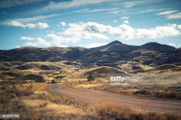 Landscape and dirt road in rural Oregon