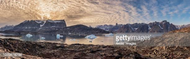 Landscape and icebergs, Scoresbysund, Greenland