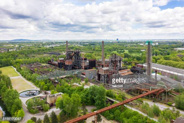landscape and industrial park duisburg north from above, germany - duisburg imagens e fotografias de stock